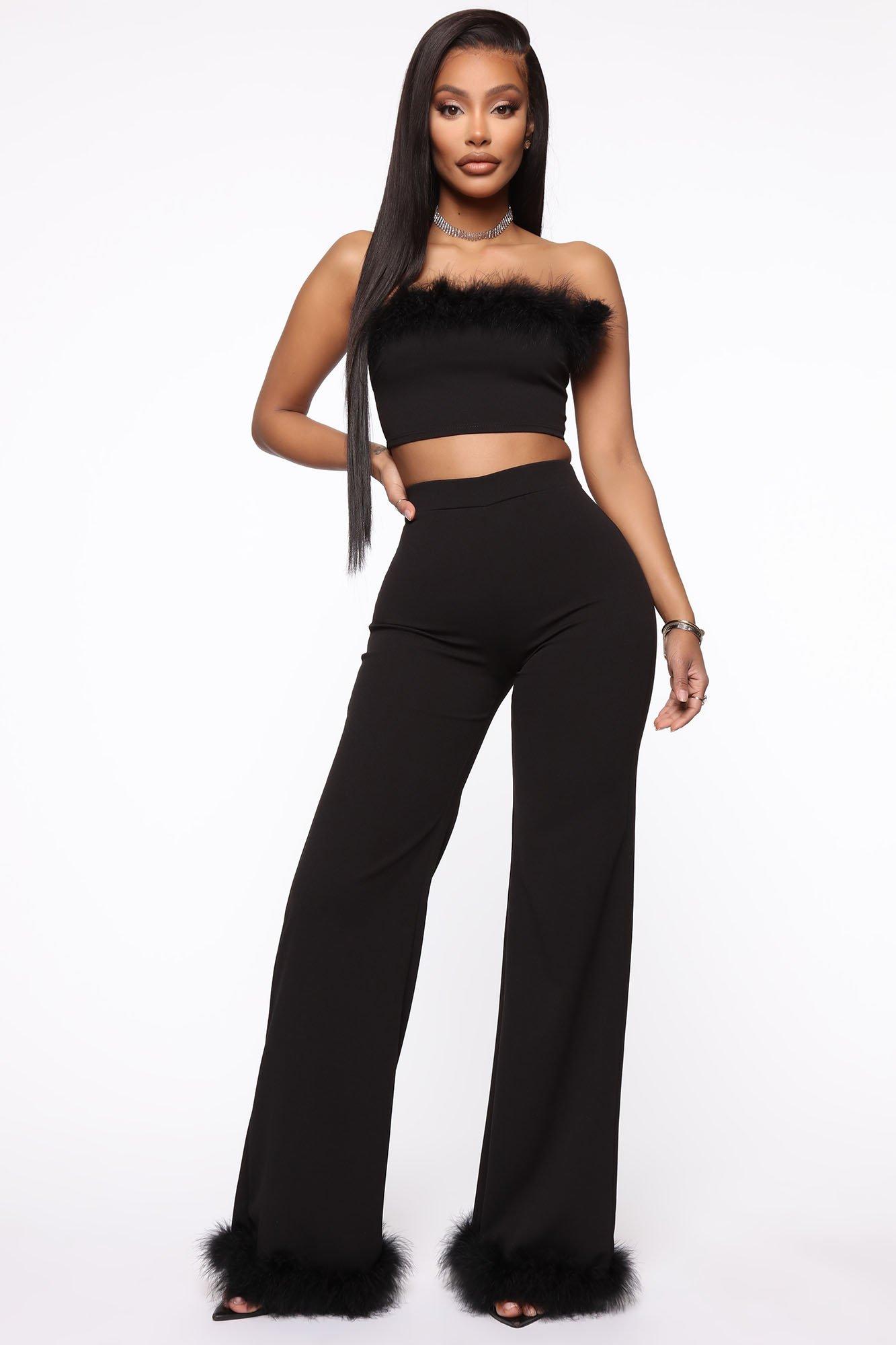 Ensemble pantalon et top à plumes - Noir