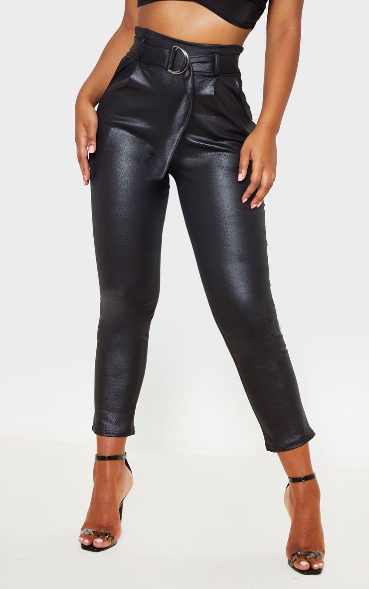 Pantalon skinny effet mouillé à ceinture - Noir