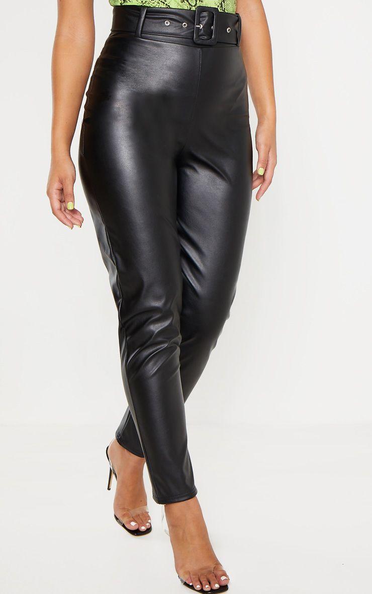 Pantalon à ceinture en similicuir - Noir