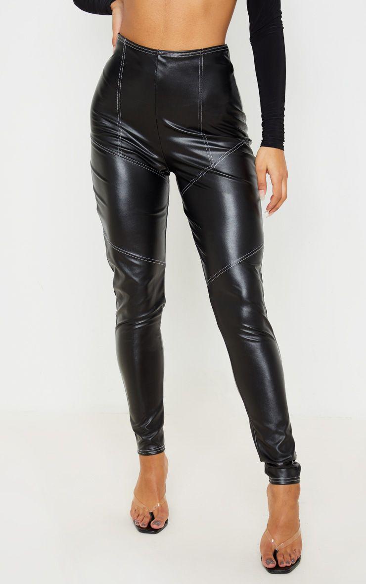 Legging en similicuir à coutures contrastantes - Noir
