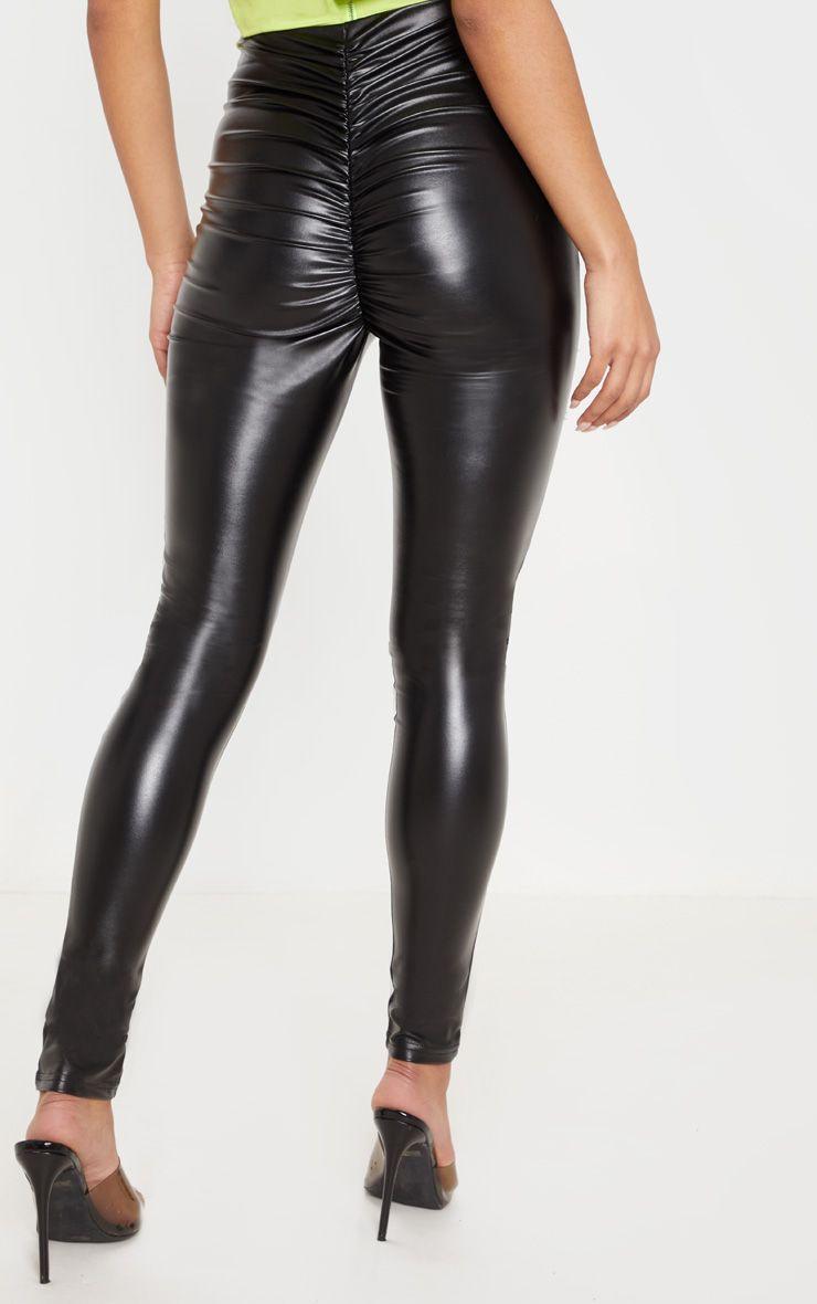 Legging en similicuir froncé derrière - Noir
