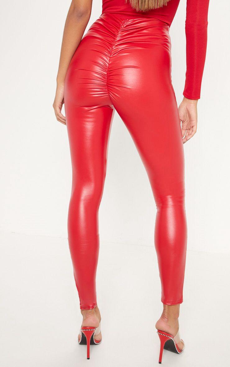 Legging en similicuir froncé derrière - Rouge