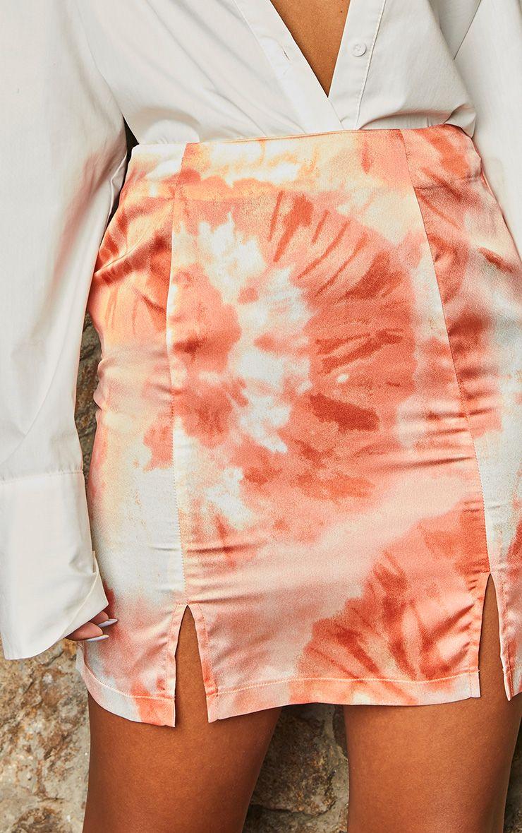 Mini-jupe tie & dye à double fente - Orange