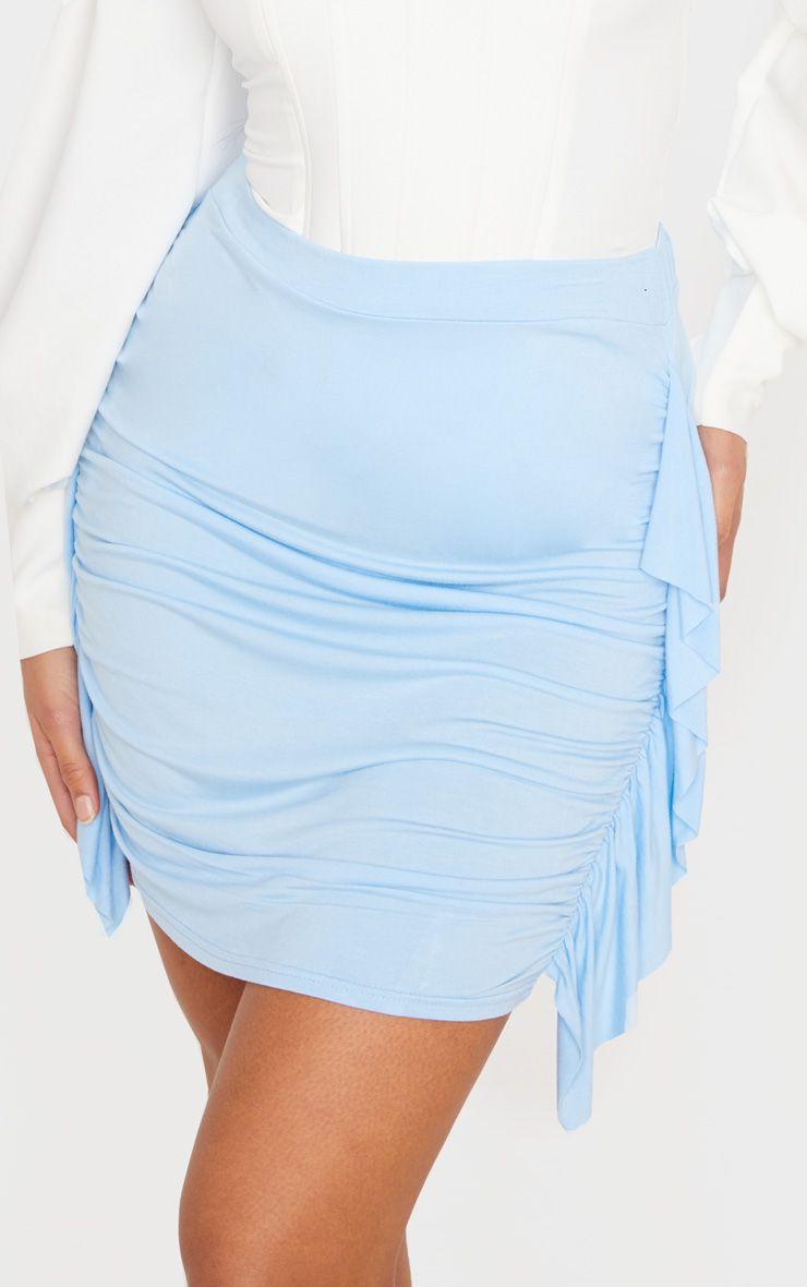 Mini-jupe froncée à côté volanté - Bleu Ciel
