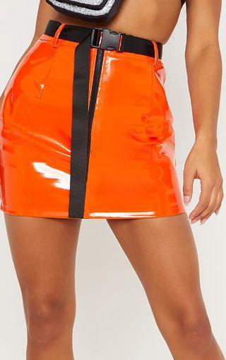 Mini-jupe en vinyle à zip et ceinture - Orange