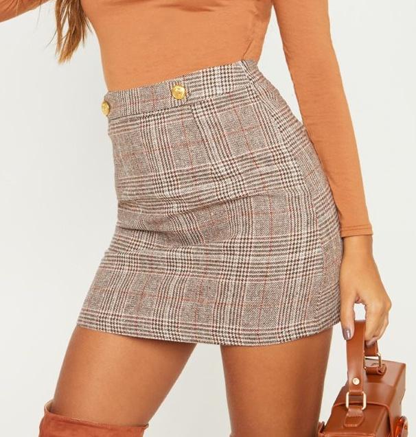 Mini-jupe à carreaux - Marron