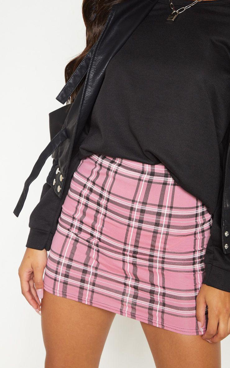 Mini-jupe à carreaux - Rose
