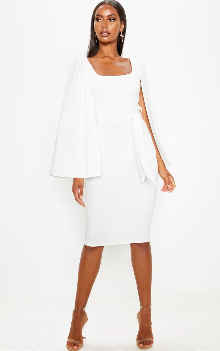 Robe à effet cape - Blanc