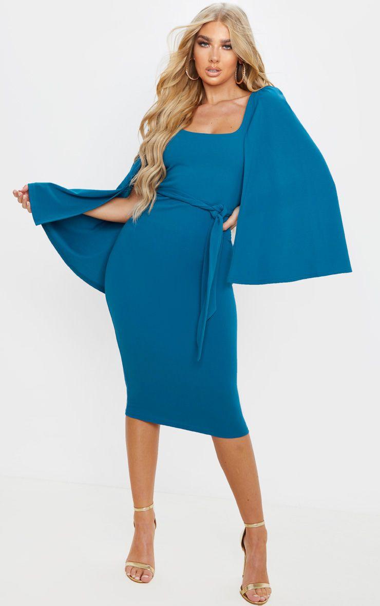 Robe à effet cape - Bleu Pétrole