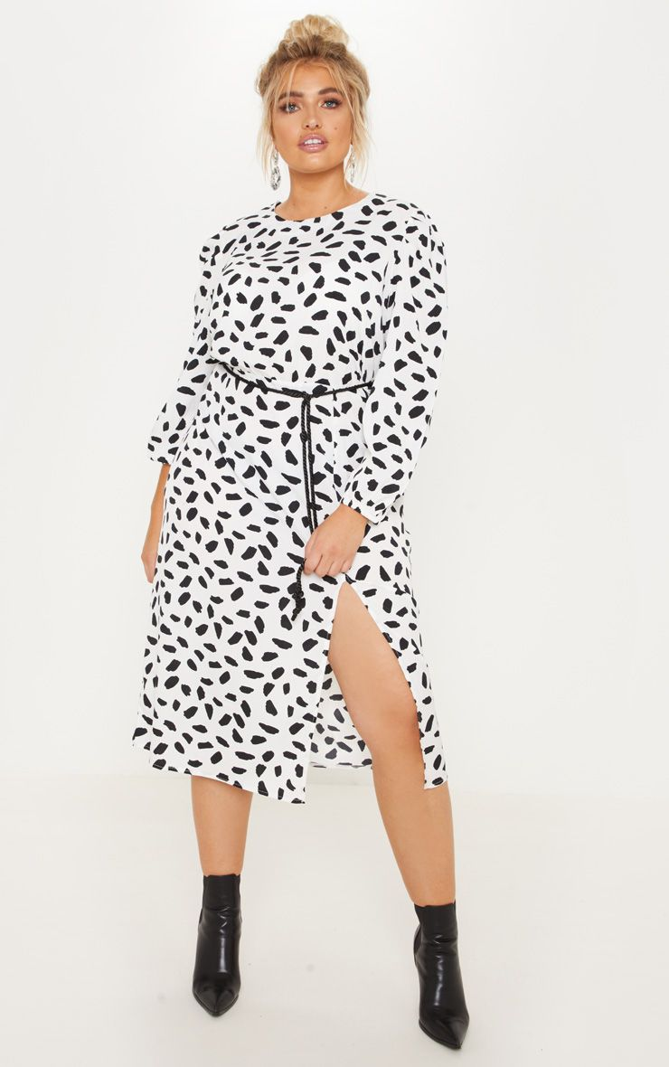 Robe mi-longue imprimé dalmatien - Blanc