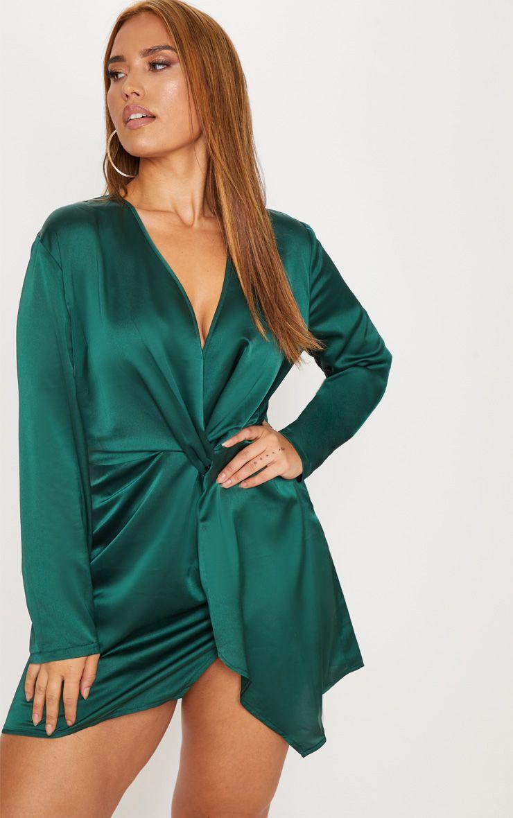Robe cache-coeur satinée torsadée - Vert Emeraude
