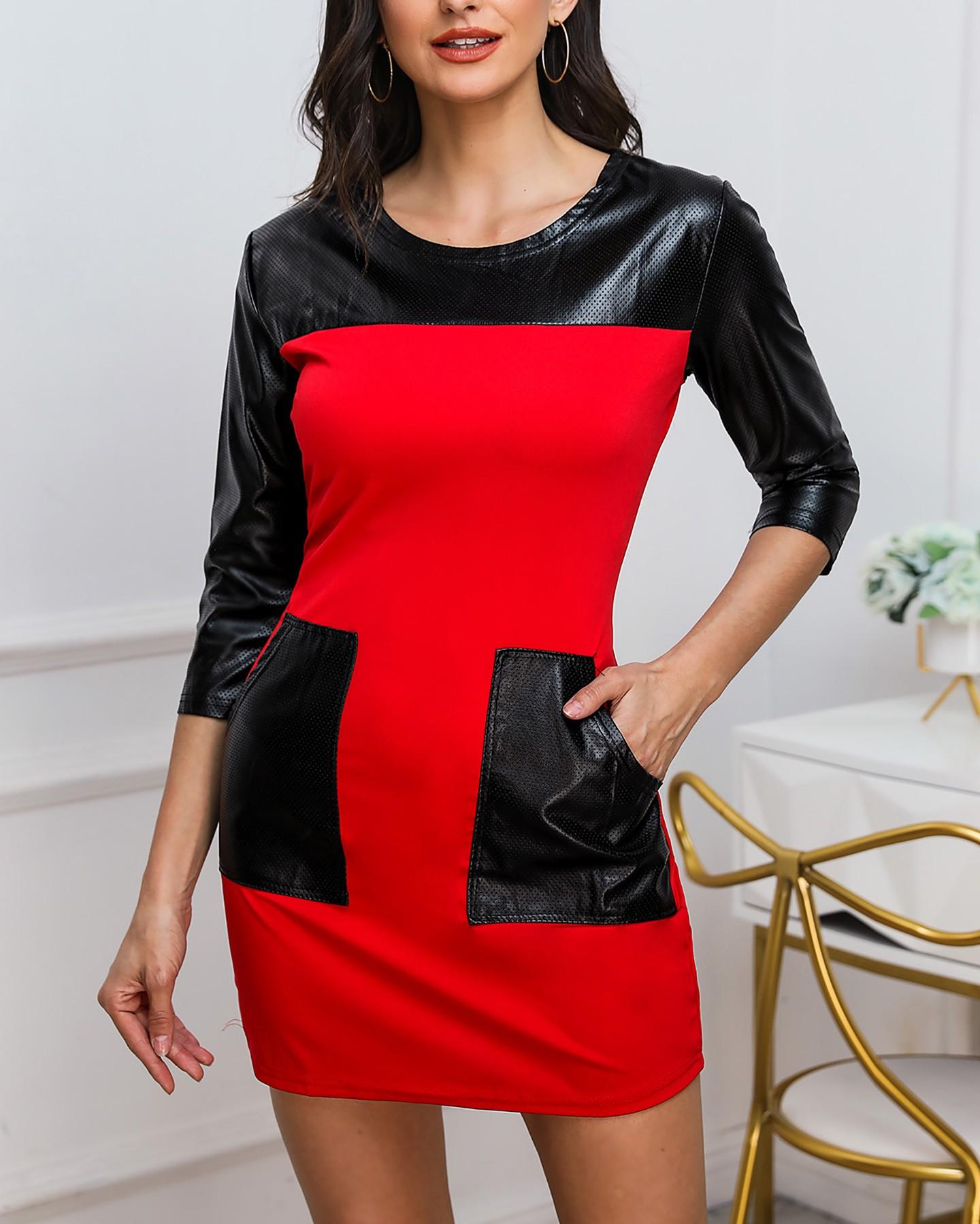 Robe à patchs wetlook - Rouge/Noir