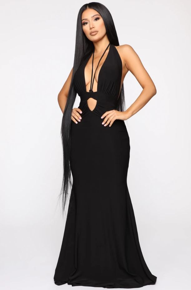 Call The Limo Halter Maxi Dress - Black