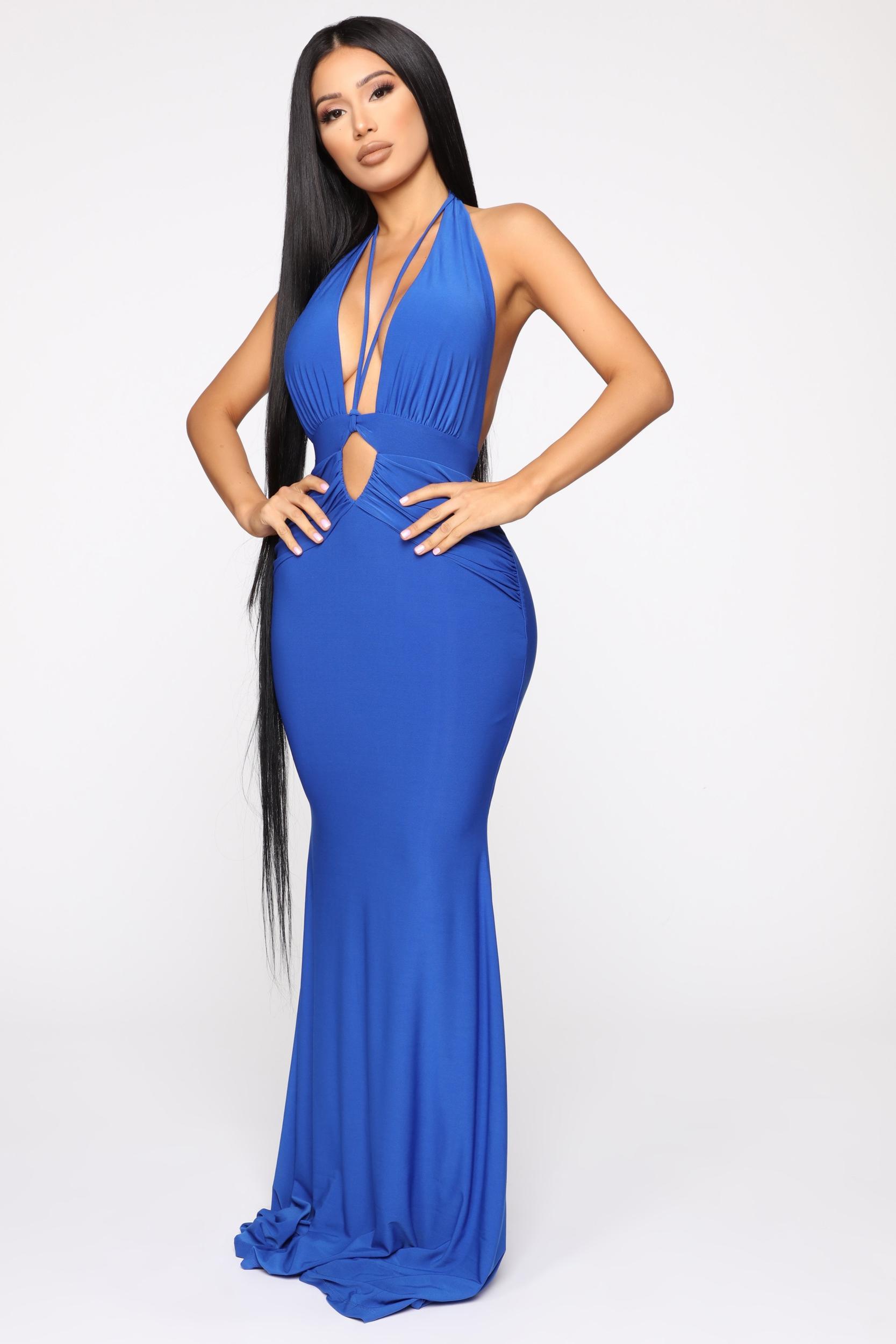 Robe longue Halo Call - Bleu Royal