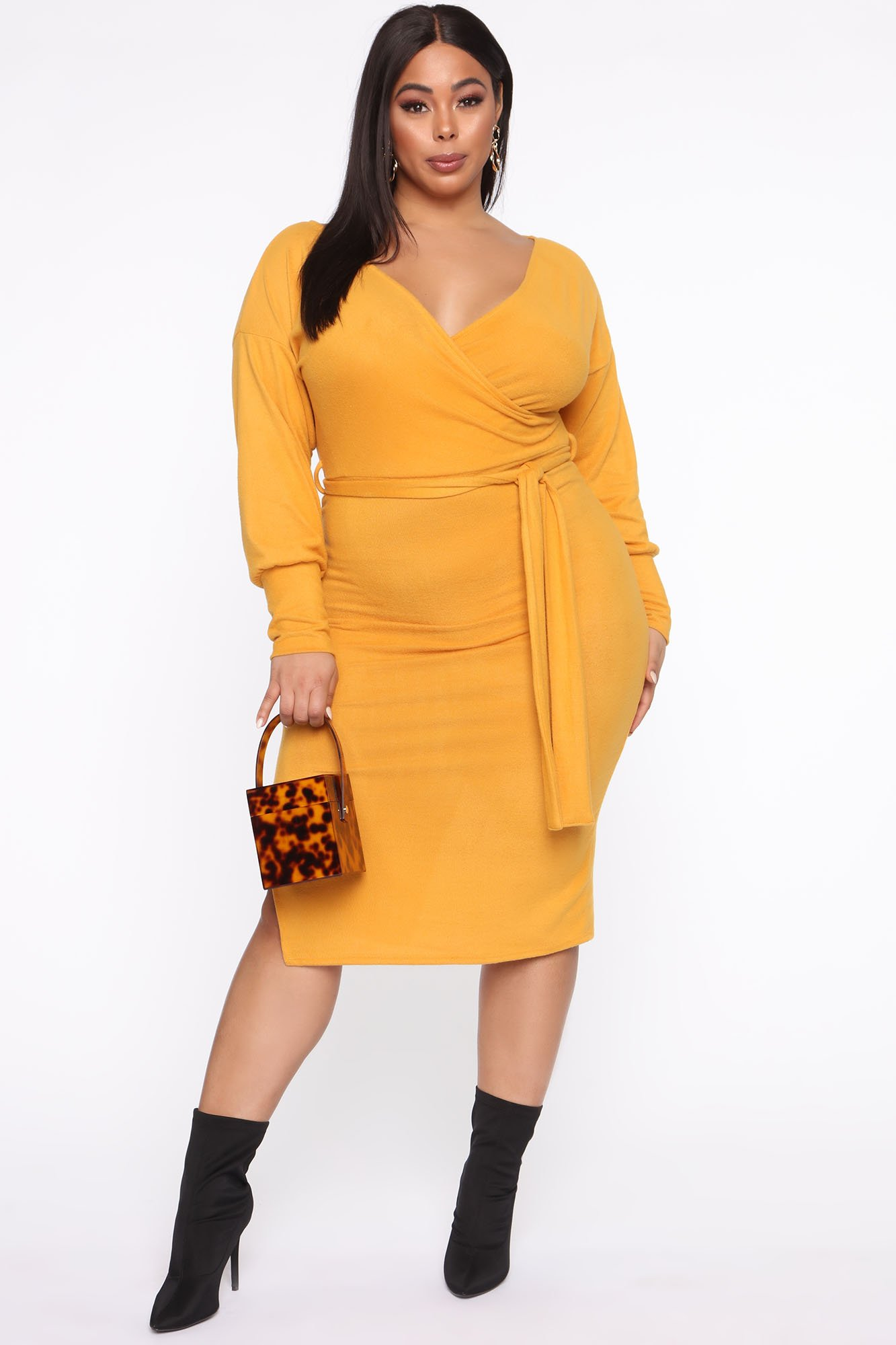 Robe Mi-Longue Three Wishes - Moutarde - Grandes tailles