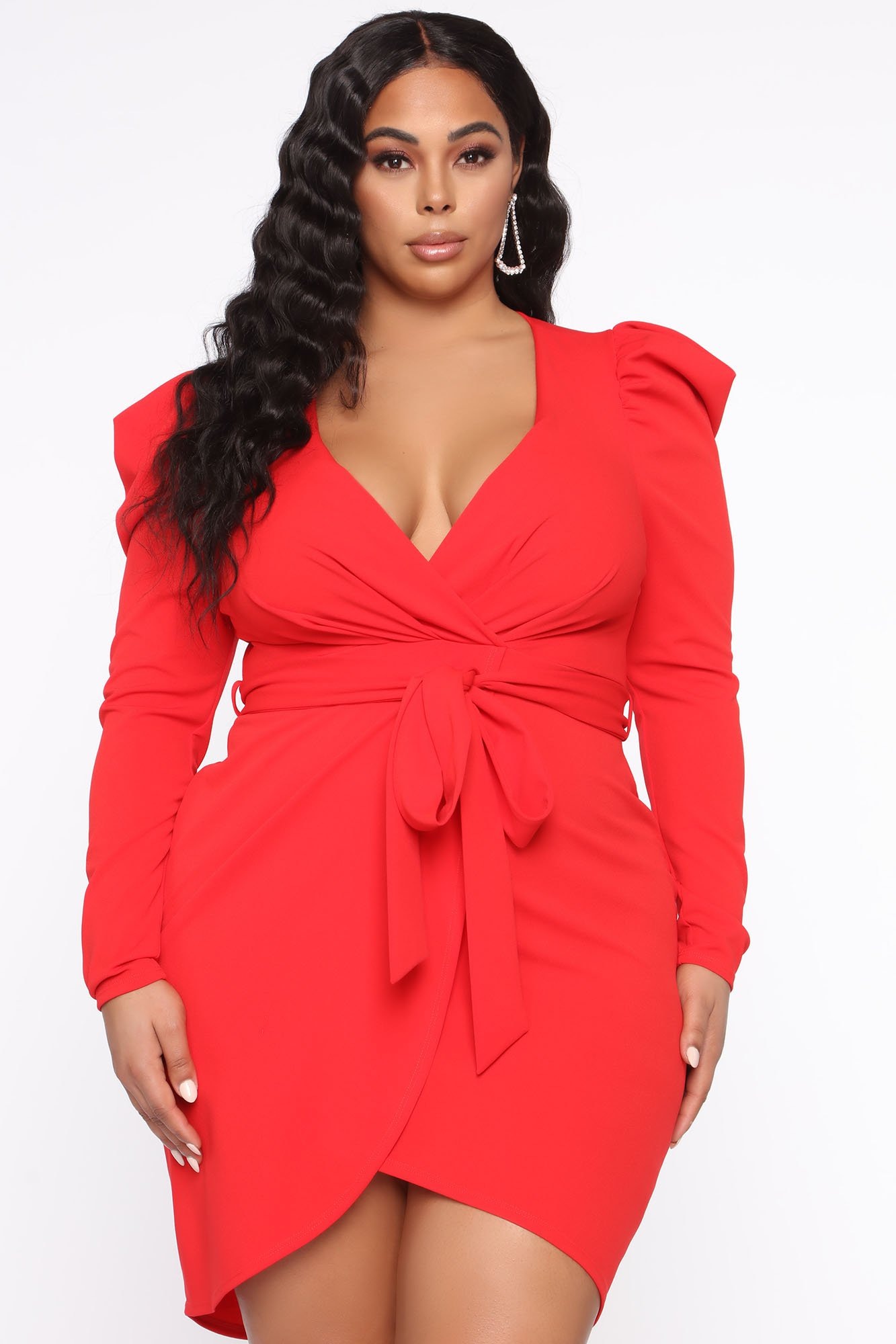Robe courte Owning This Moment - Rouge - Grandes tailles