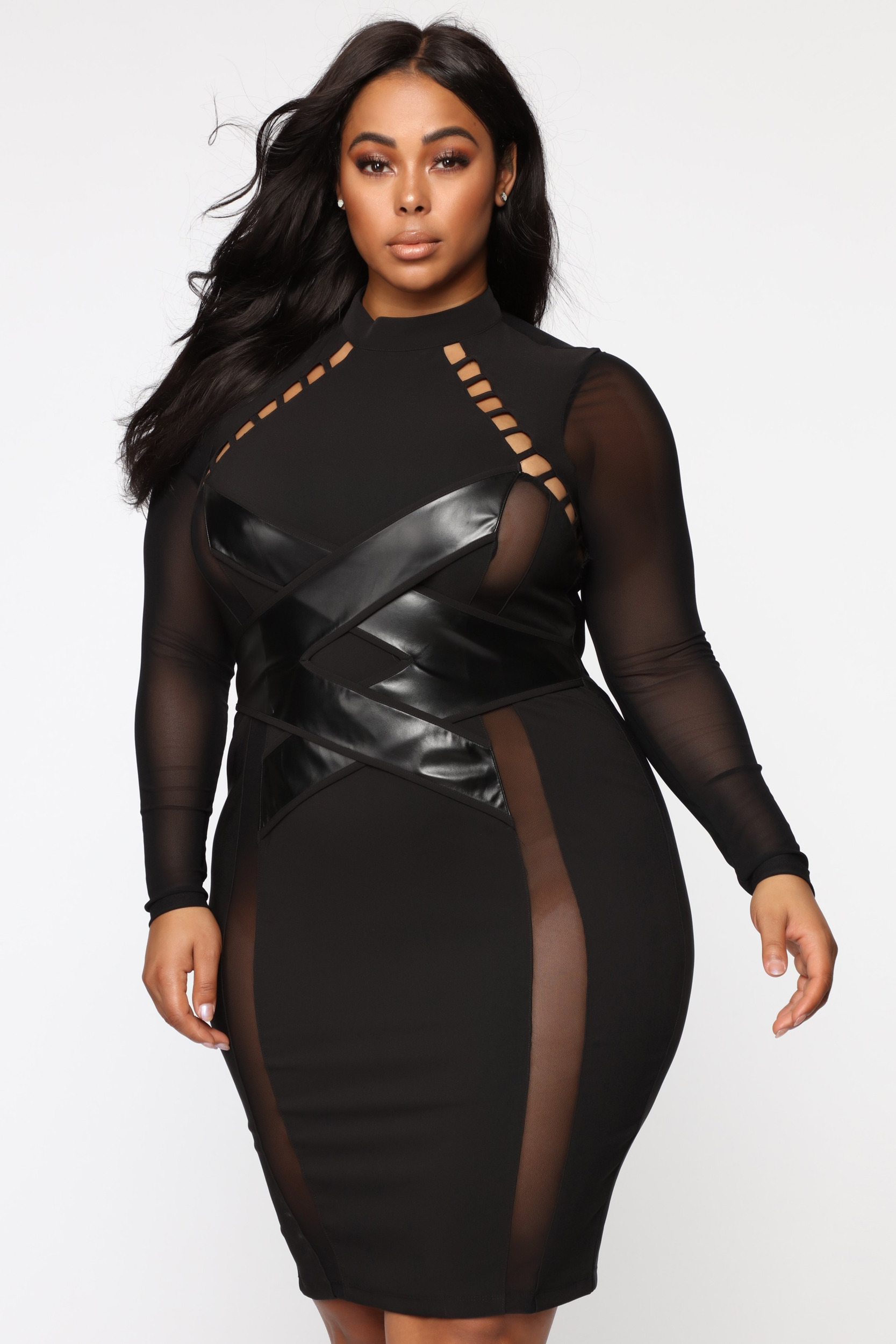 Robe clubwear Cages Inside - Noir - Grandes tailles