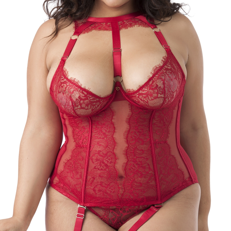 Ensemble guêpière dentelle Midnight Mirage - Rouge