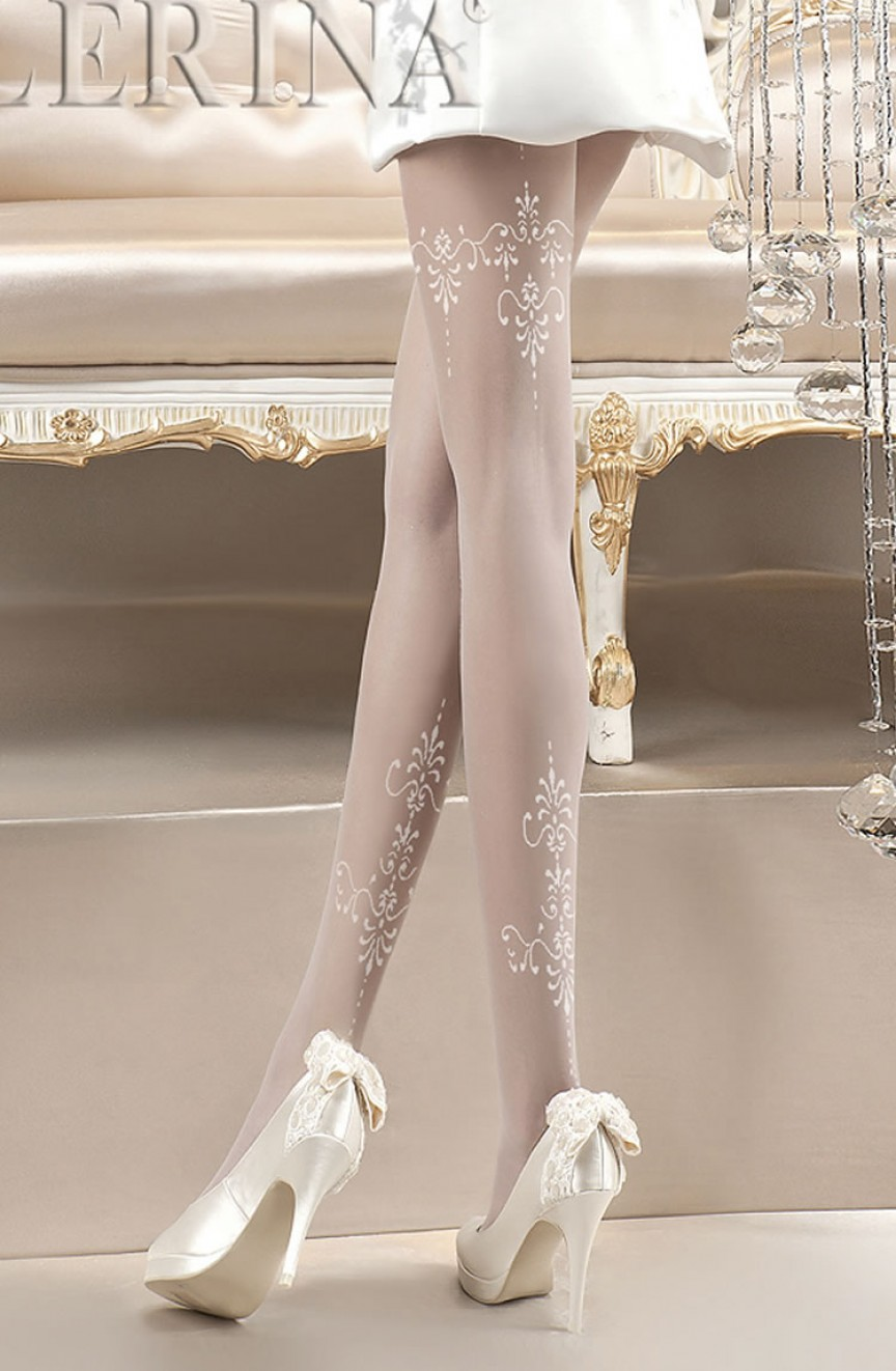 Collants brodés blancs 118 - Ballerina