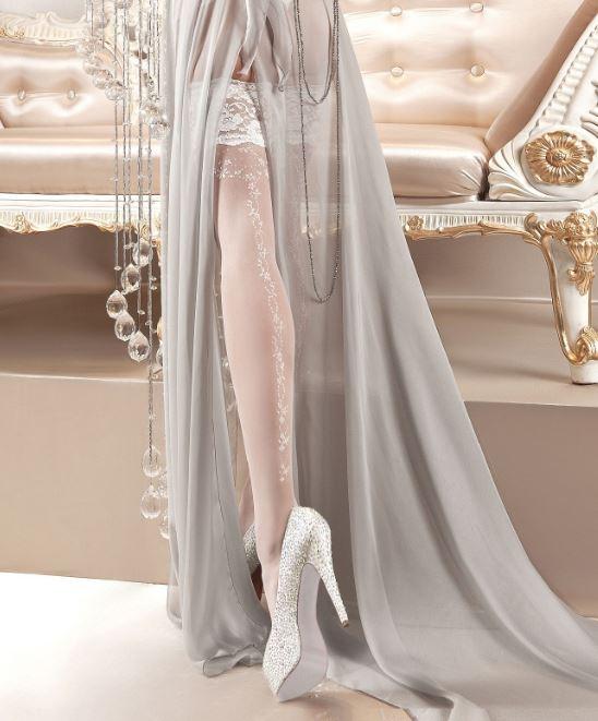 Bas blancs brodés 123 - Ballerina