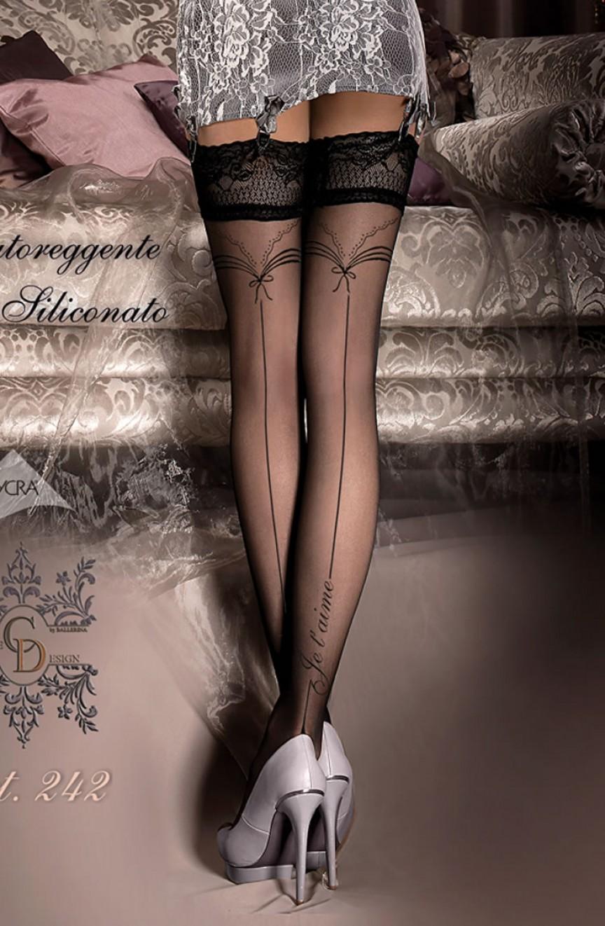 Bas noirs imprimés Je t\'aime autofixants 242 - Ballerina