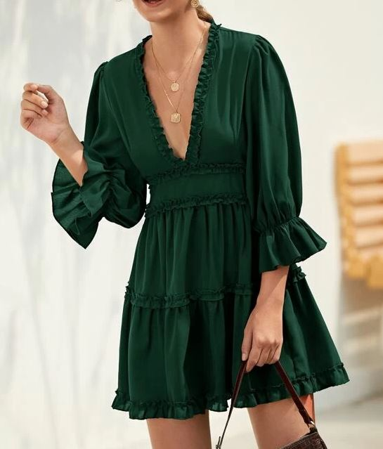 Robe Dos-Nu Décolletée - Vert
