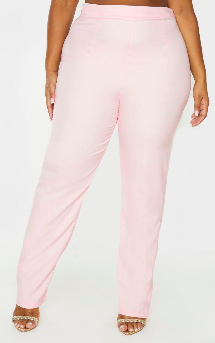 Pantalon droit rose poudré - Grandes Tailles