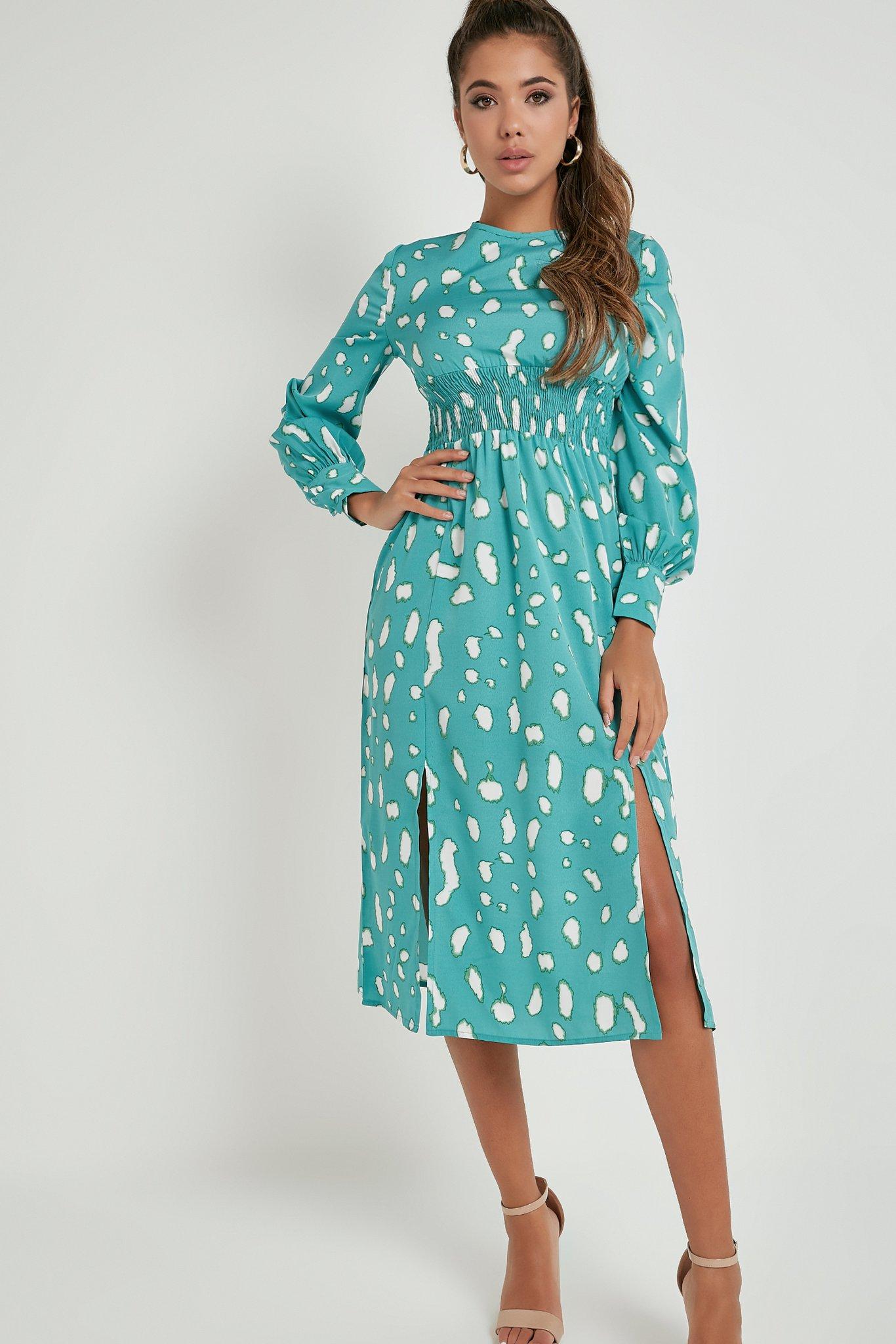Robe mi-longue à imprimé abstrait - Vert