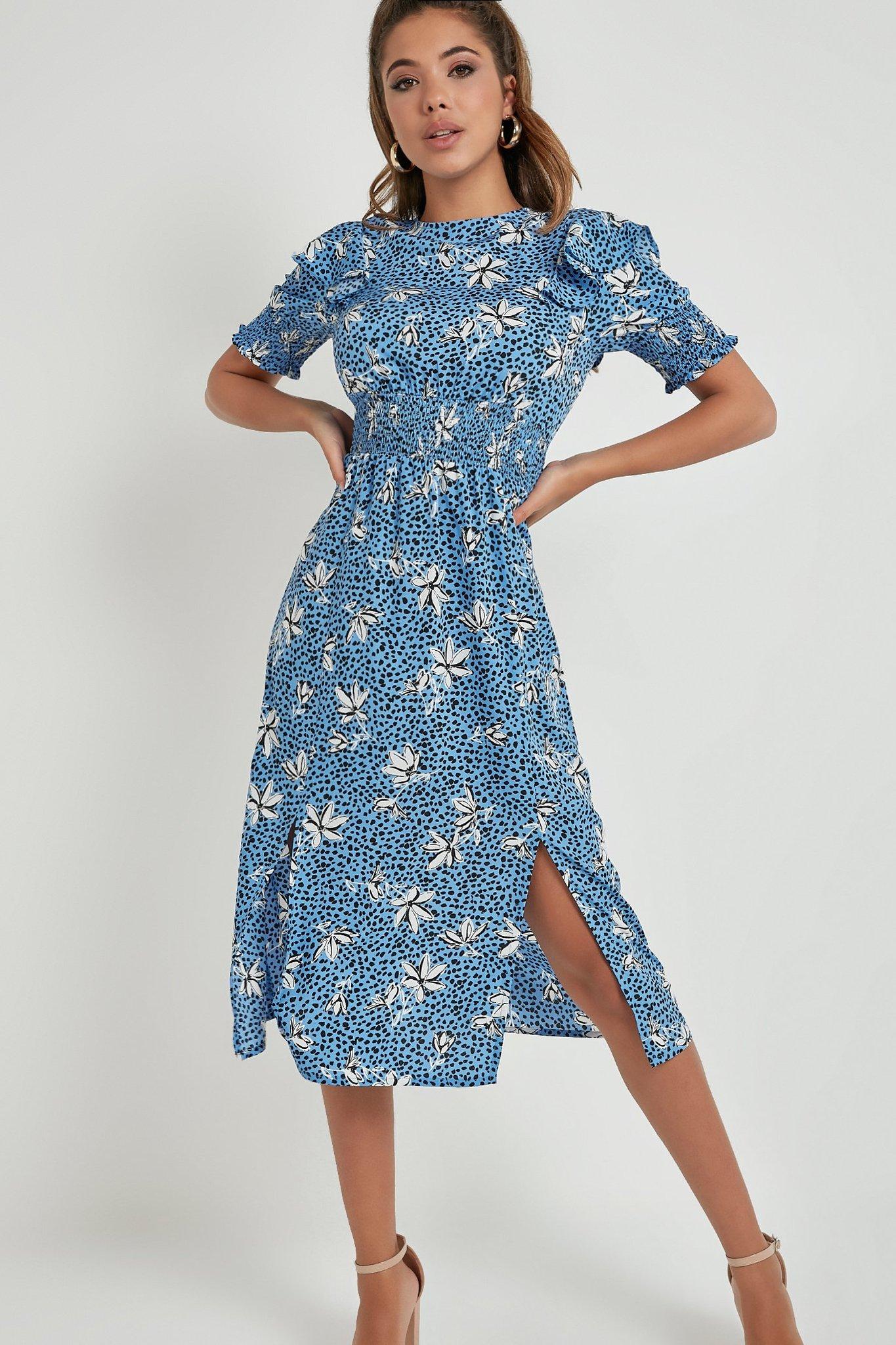 Robe mi-longue à fleurs - Bleu