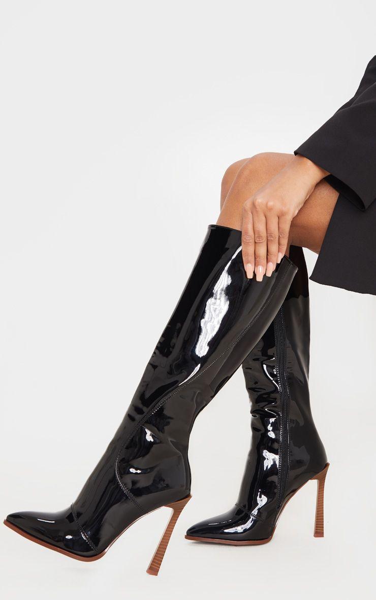 Bottes en vinyle à zipper - Noir