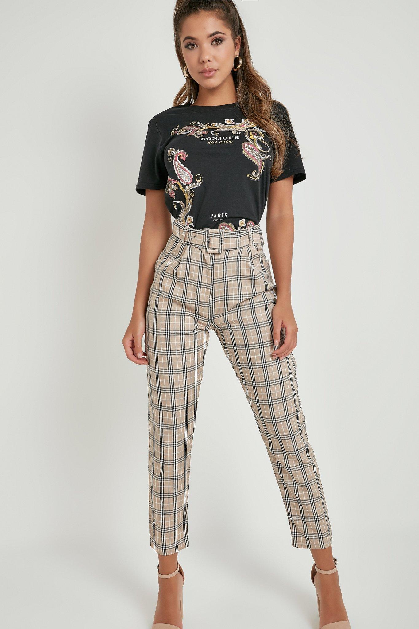 Pantalon ceinturé à carreaux Jolie