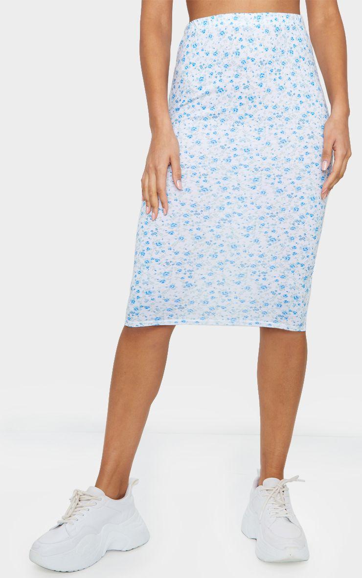 Jupe mi-longue à imprimé floral - Bleu