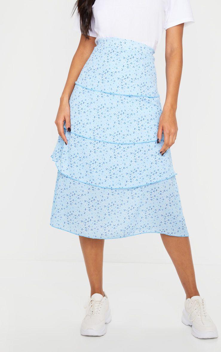Jupe à imprimé floral à volants - Bleu