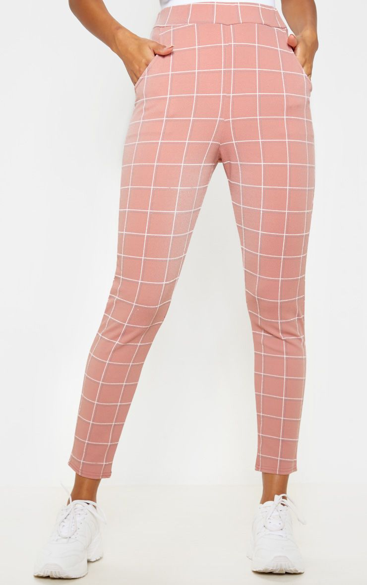 Pantalon skinny à carreaux - Rose