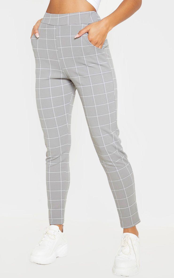 Pantalon skinny à carreaux - Gris