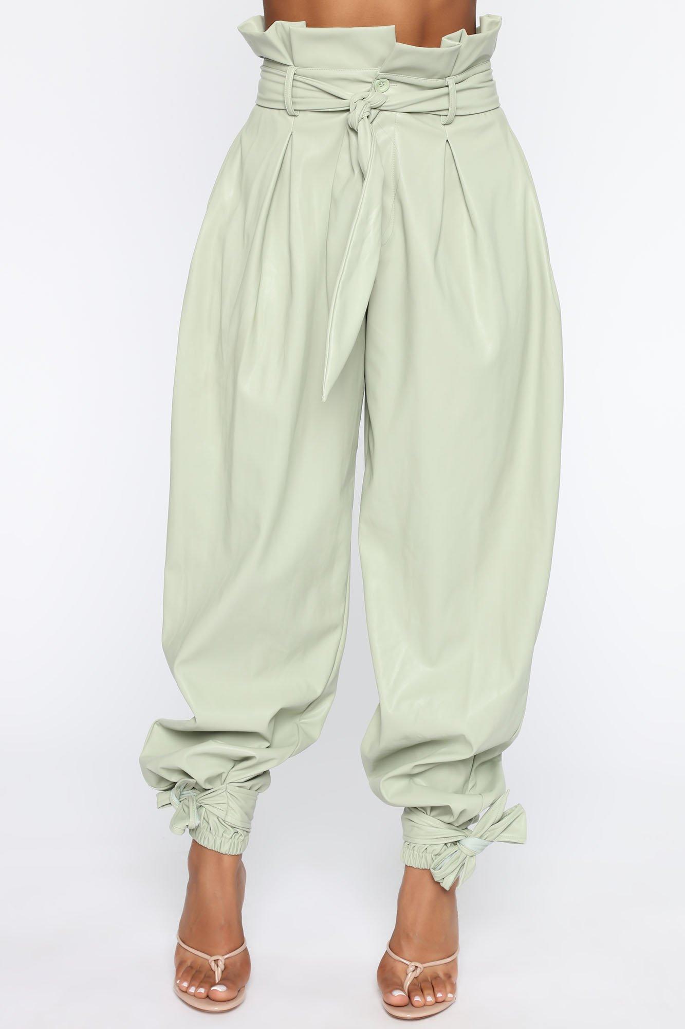 Pantalon en Faux Cuir Got Your Love - Sauge
