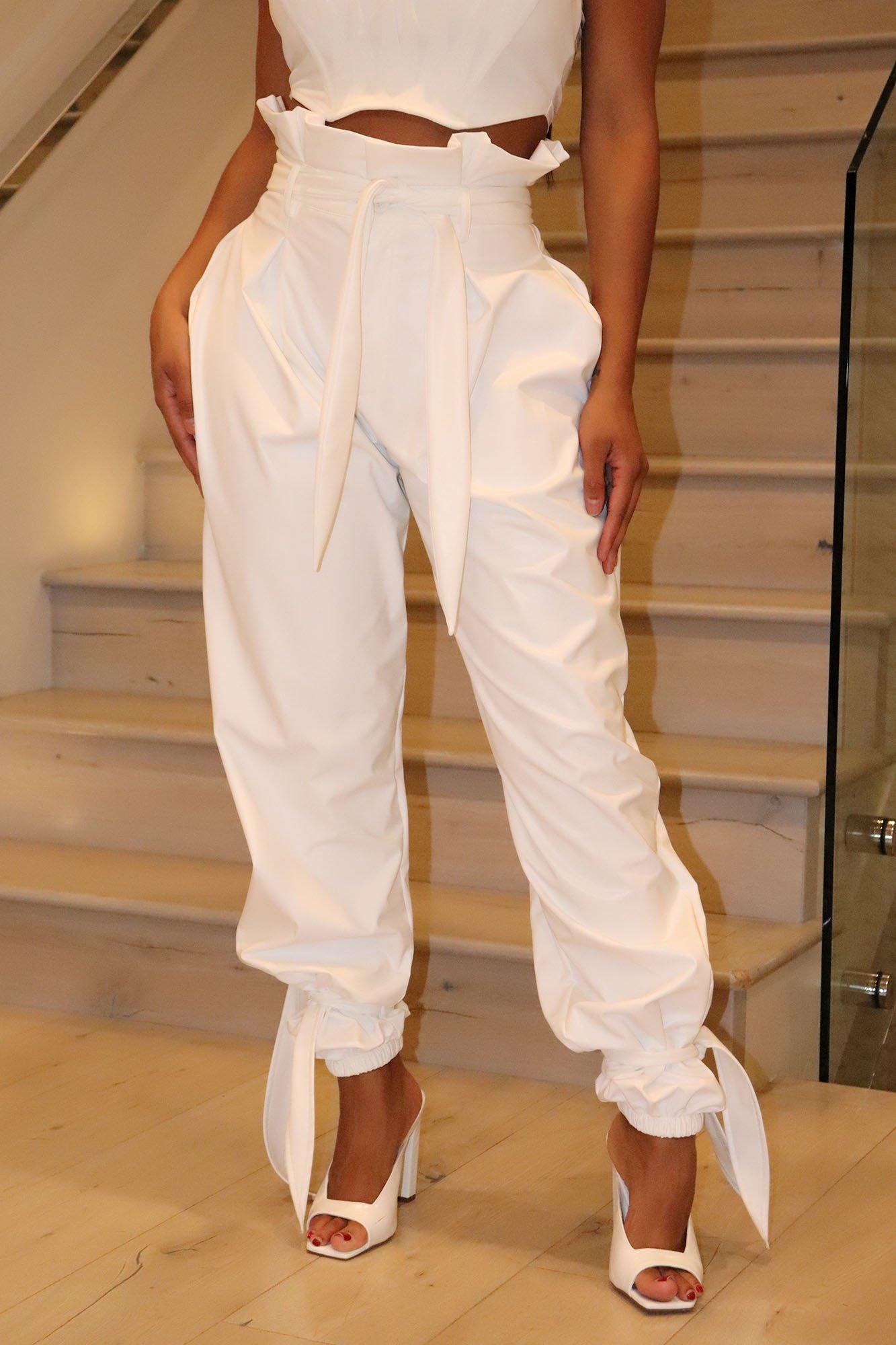 Pantalon en Faux Cuir Got Your Love - Blanc