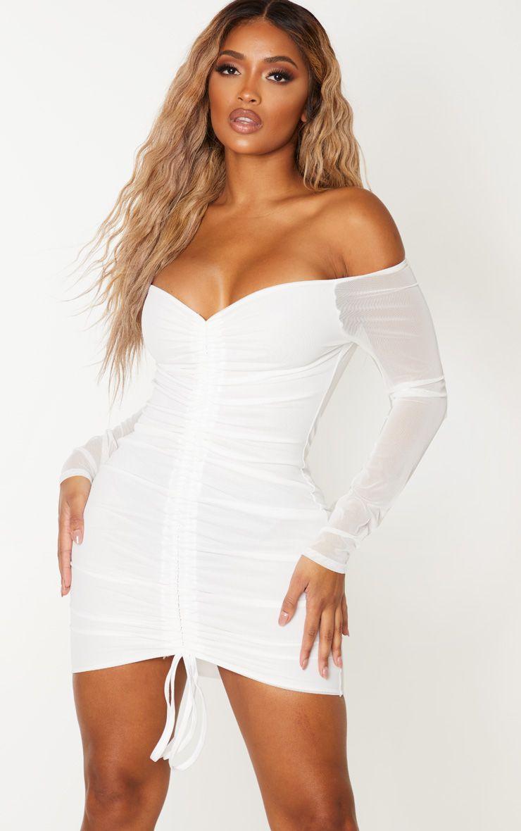 Robe en mesh froncée - Blanc