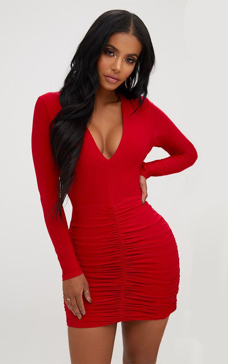 Robe mini froncée - Rouge