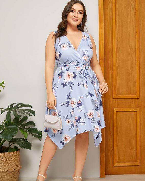 Robe à col en V et imprimé floral - Bleu