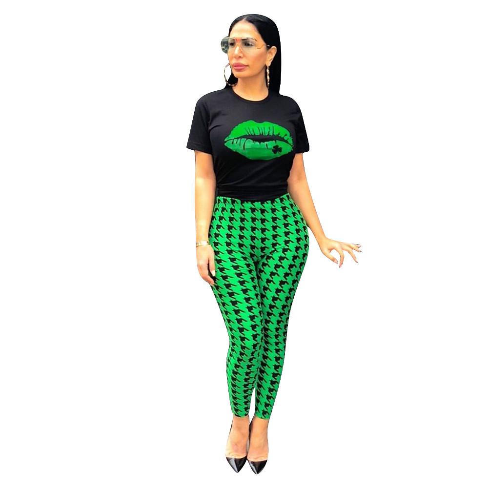 Ensemble pantalon vert et noir