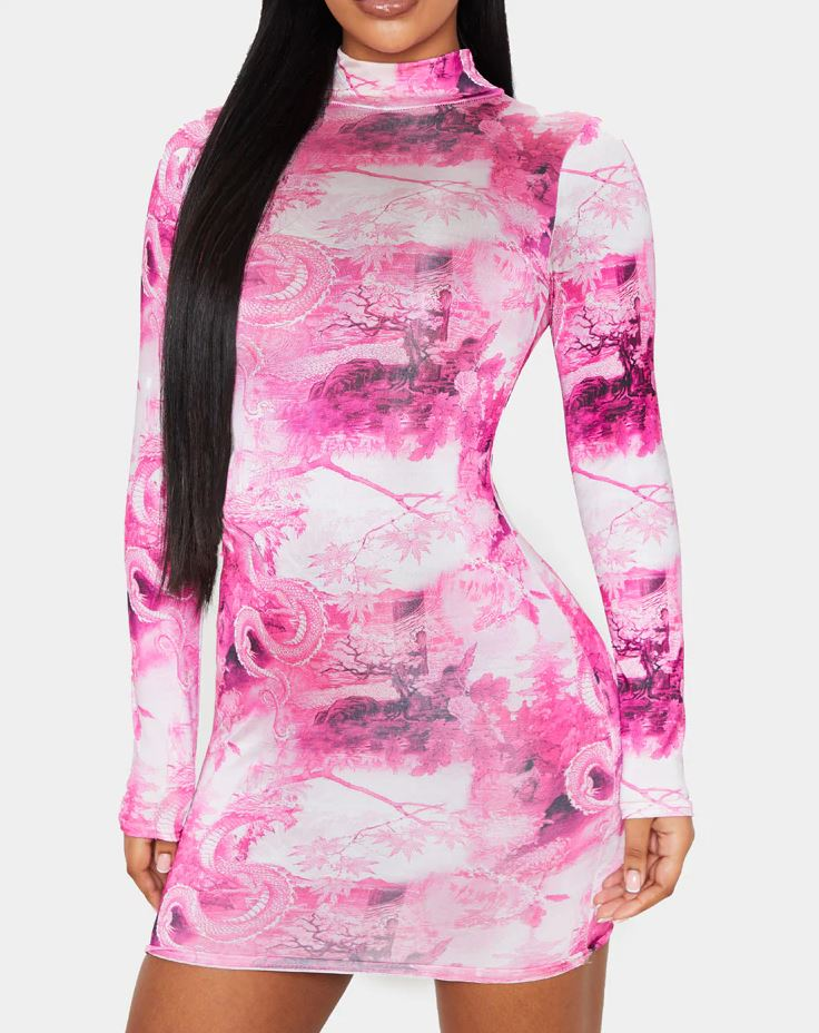Robe imprimée style asiatique rose flashy
