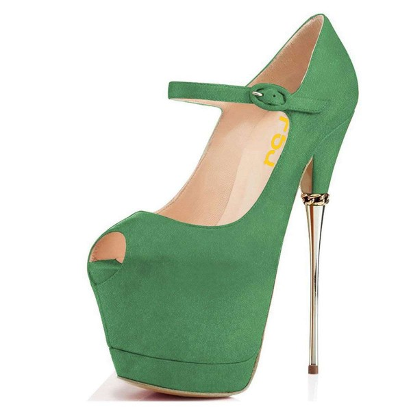 Chaussures Mary Jane à talon - Vert