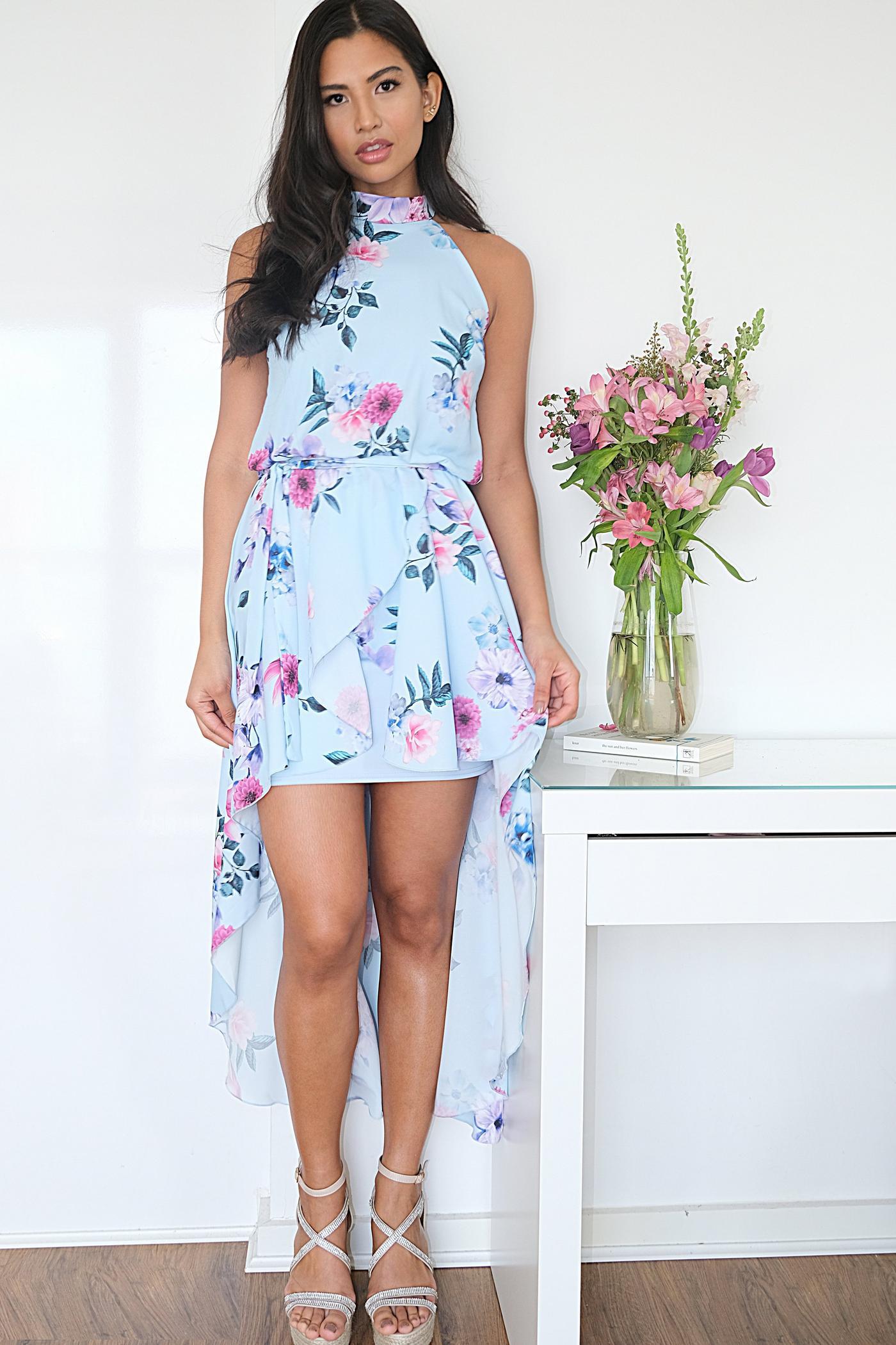 Robe asymétrique à fleurs - Bleu