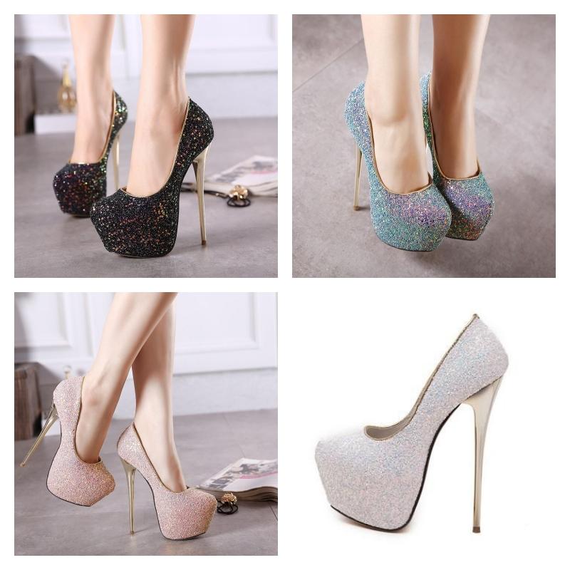 Chaussures plateforme à paillettes