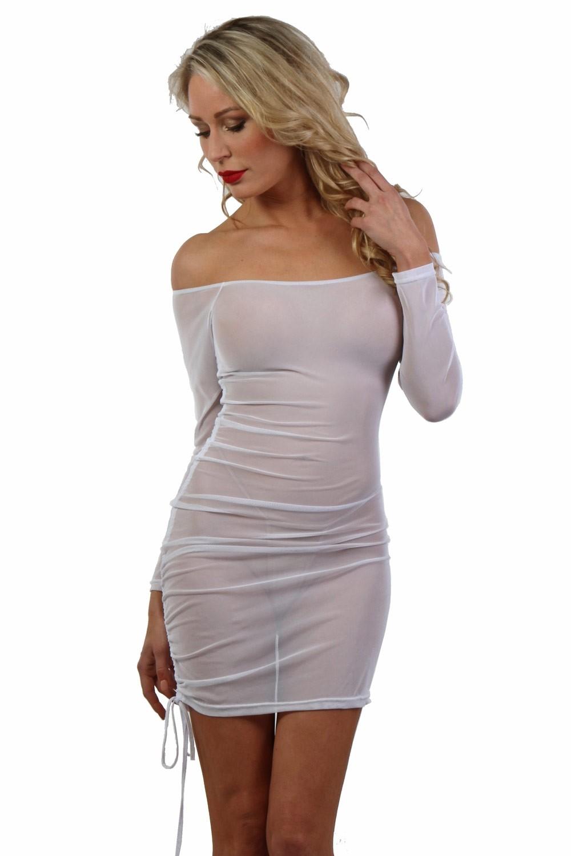 Robe blanche micro résille transparente - Spazm