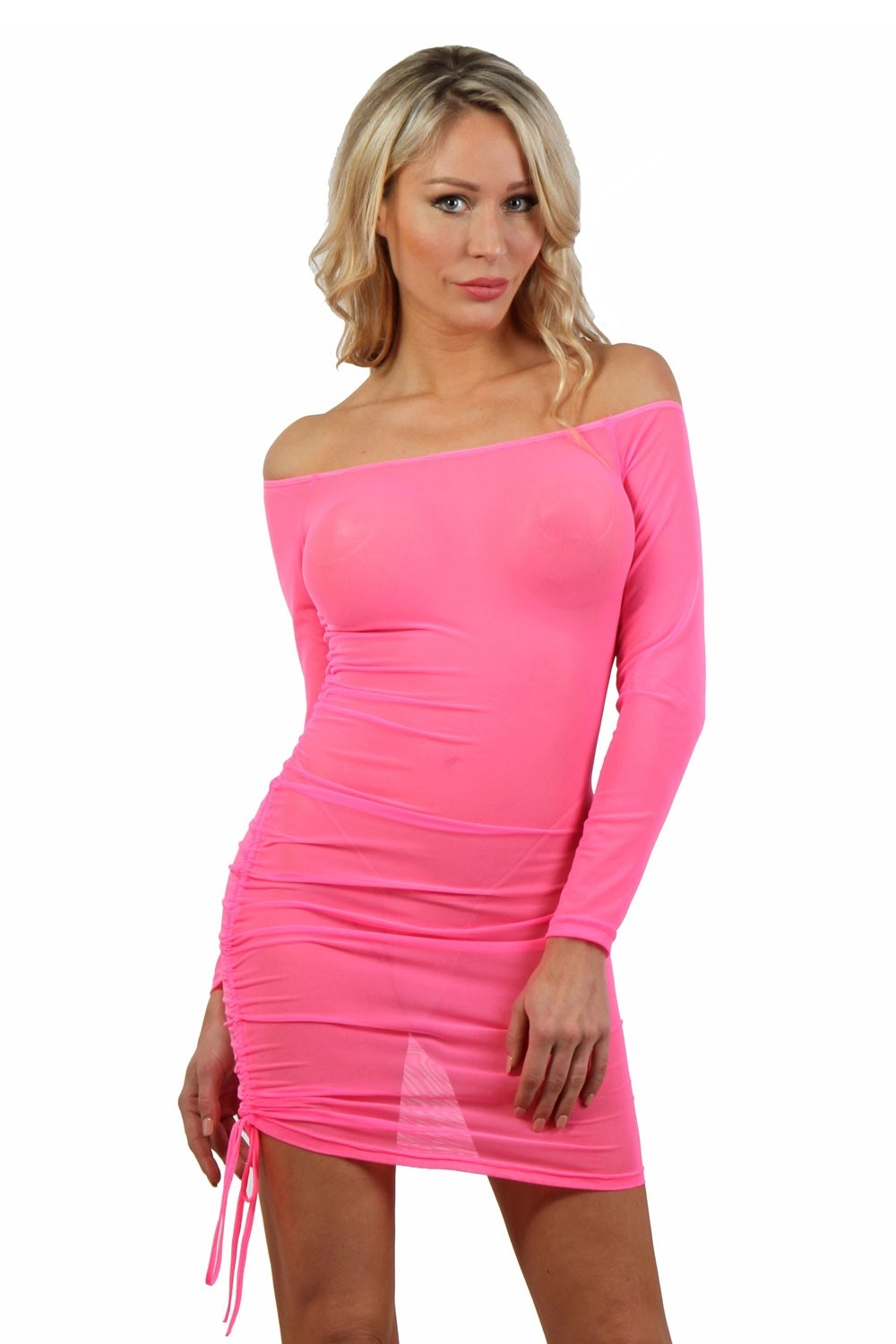 Robe rose fluo micro résille transparente - Spazm