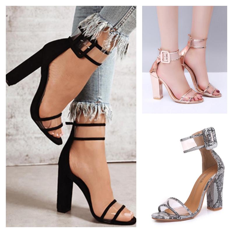 Chaussures à talon et bride transparente