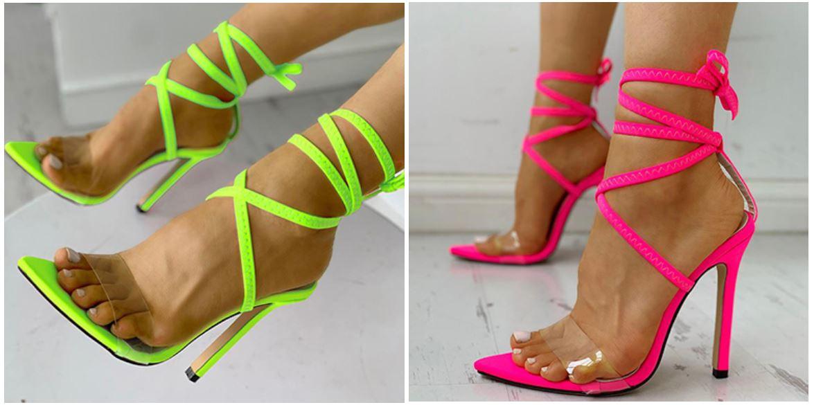 Chaussures fluo à talon et brides