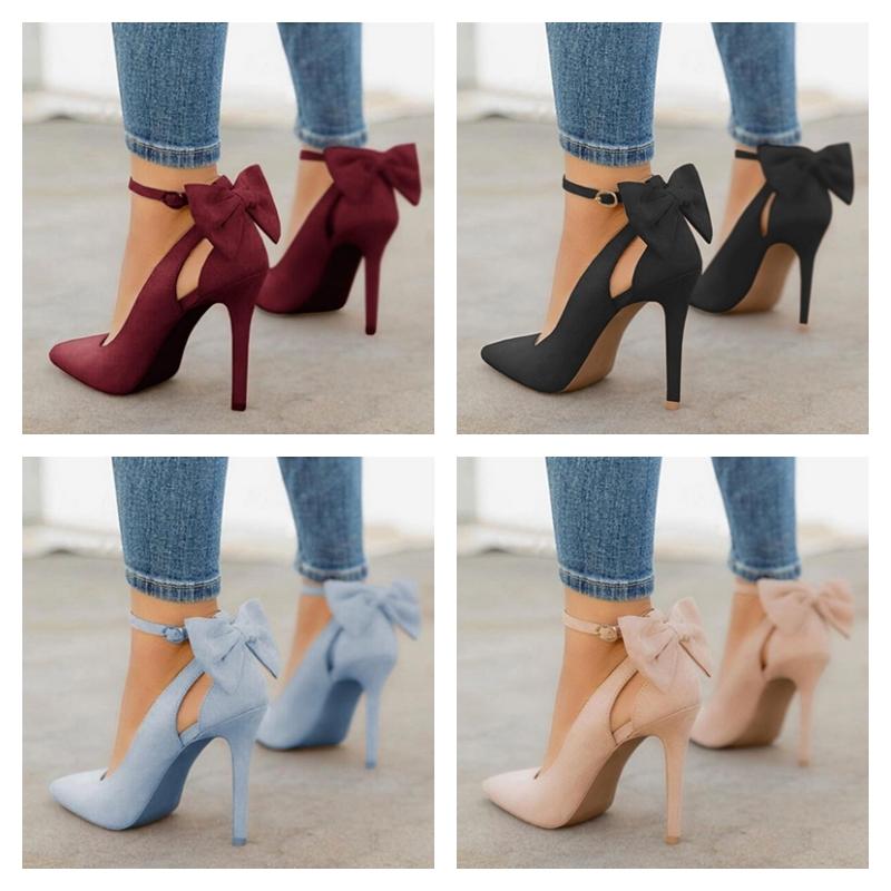 Chaussures à talon à bout pointu et noeud